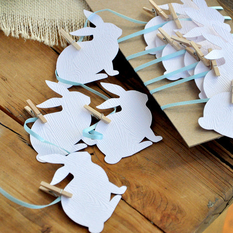 Peter Rabbit Garland. Easter Bunny Garland. Blue and White Bunny Garland.