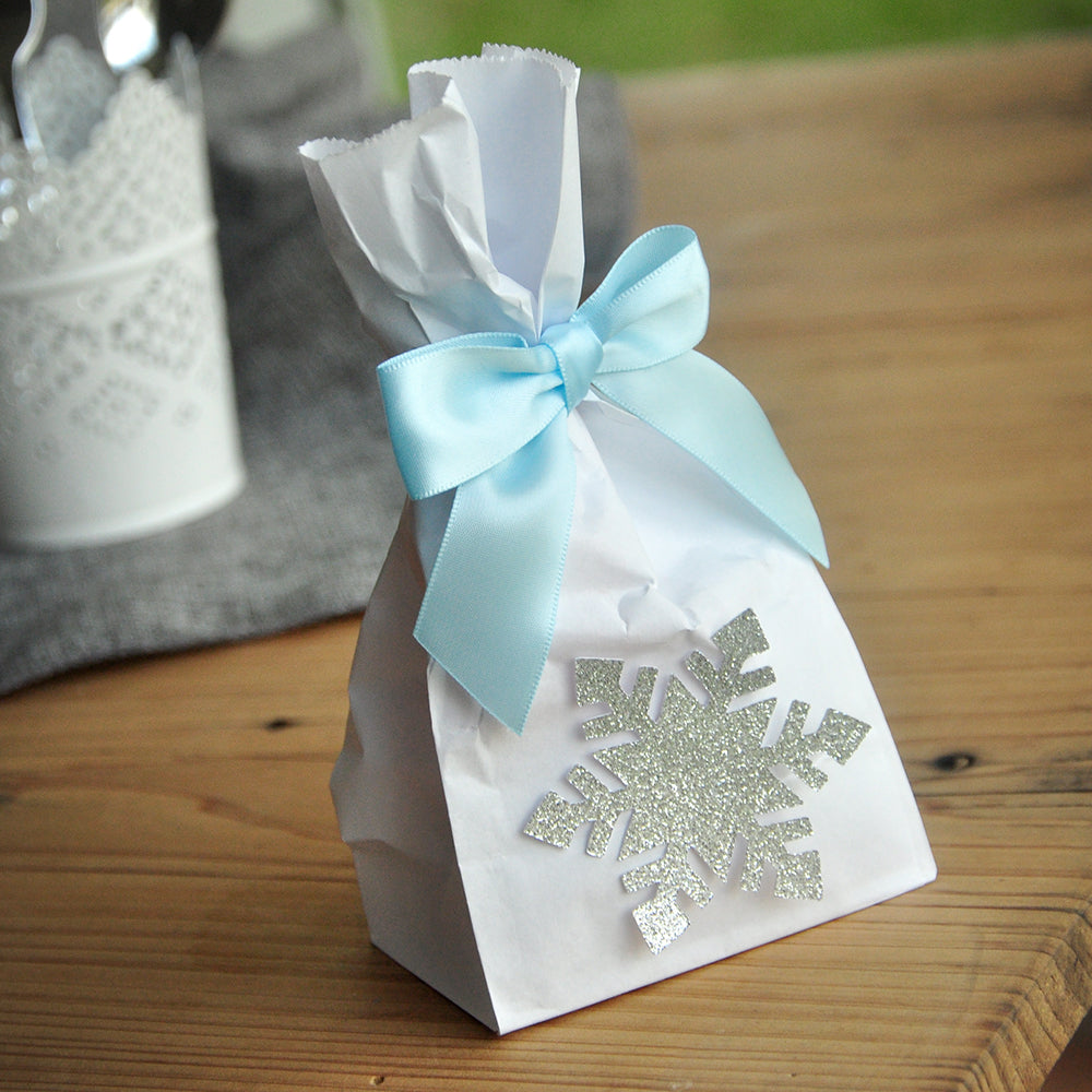 Frozen Party Favor Bags (Pack of 10). Made in 1-3 Business Days. Silver Frozen Party Supplies. Mini Party Favor Bags with Snowflake and Bows. W36MFB.