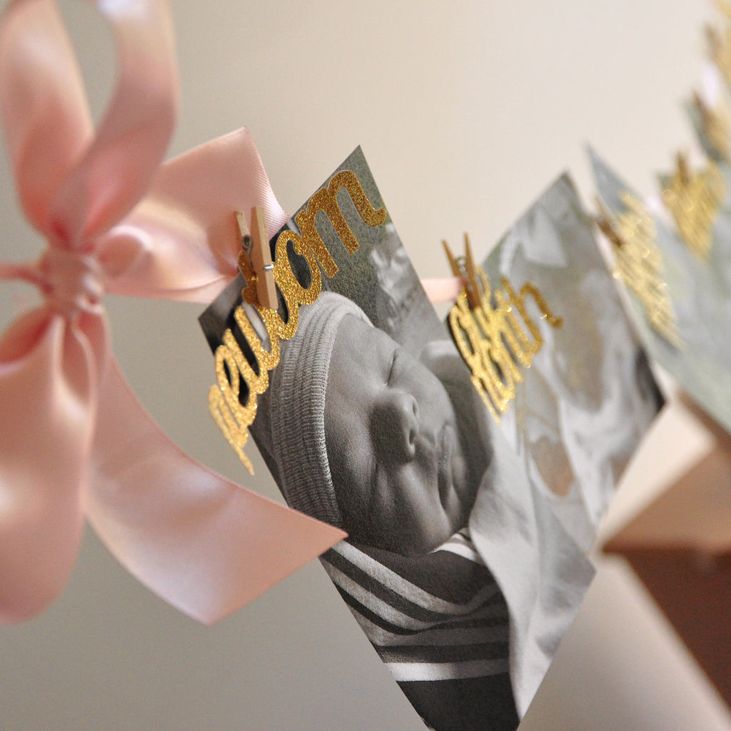 First Birthday Photo Banner. Blush and Gold Birthday Banner. (Made in 1-3 Business Days) 12 Month Banner.