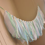 Baptism Decorations Boy Fabric Garland Backdrop. Ships in 1-3 Business Days. Ribbon Garland in White, Baby Blue & Mint.