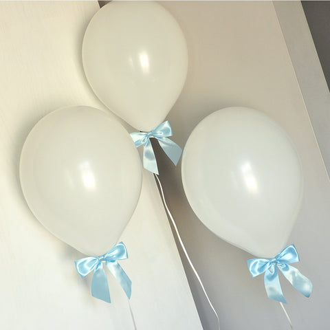 Baptism Ideas for Boys. Ships in 1-3 Business Days. White Balloons with Baby Blue Bows 8CT + Curling Ribbon.