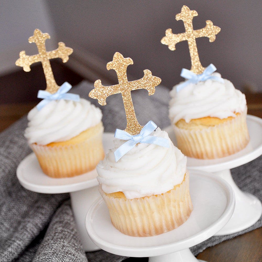 Baptism Decorations for Boys.  Ships in 1-3 Business Days.  Christening Cross Cupcake Toppers 12 CT.