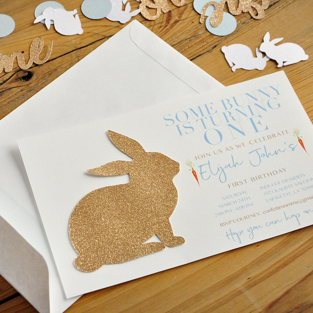 Some Bunny Is One Invitations Boy And Envelopes We Print Cut Glue