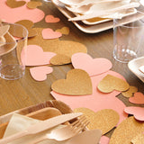 Bridal Brunch Decor. Ships in 1-3 Business Days. Gold and Coral Decorations. Jumbo Heart Confetti for Photo Backdrop 28CT.