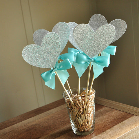 Bridal Shower Centerpiece. Ships in 1-3 Business Days. Heart Wands 5CT.