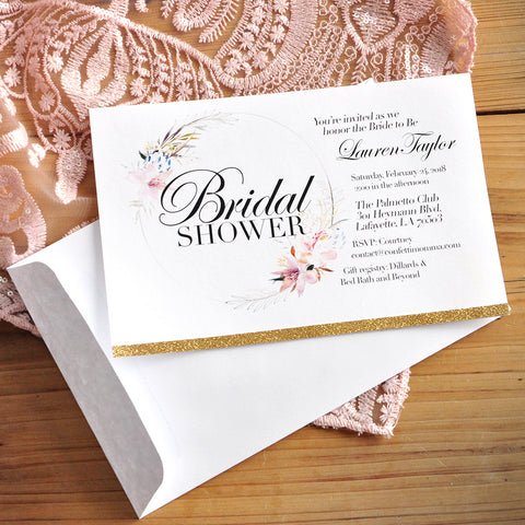Bridal Shower Invitations with Envelopes. We Print, Cut, Glue and Ship to You in 1-3 Business Days. Floral Bridal Shower Invitations.
