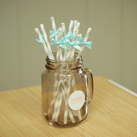Bridal Shower Straws 10CT.  Ships in 1-3 Business Days.  Silver Straws with Aqua Bows.  Paper Straws.