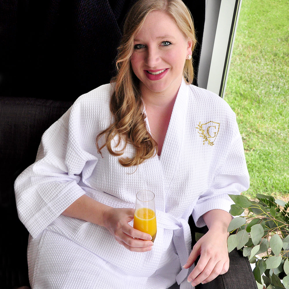 Bride Robe for Getting Ready (Qty. 1). Personalized in 1-3 Business Days.  White Cotton Waffle Robe. Waffle Robes for Wedding.