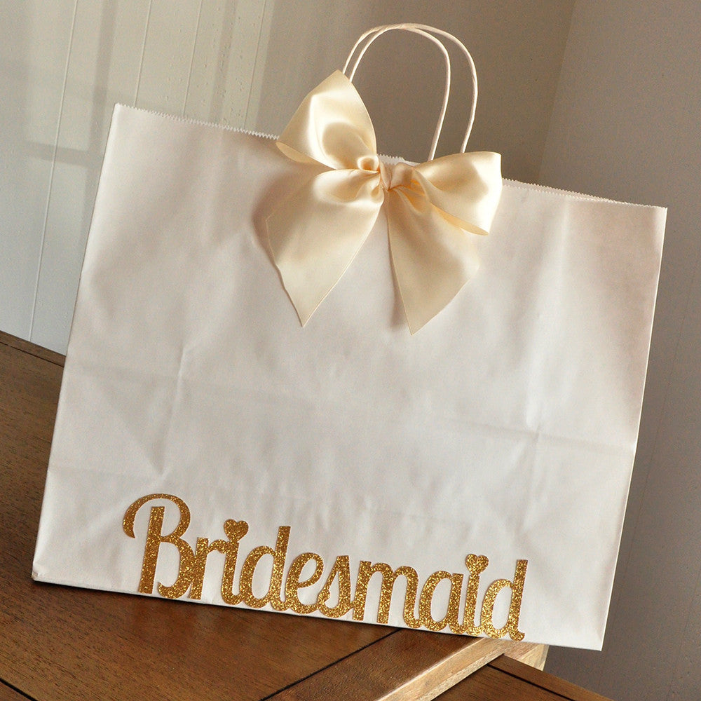 Bridesmaid Bags for Hangers.  Extra Large White Paper Bags with Handle. Bridesmaid Gift Ideas.
