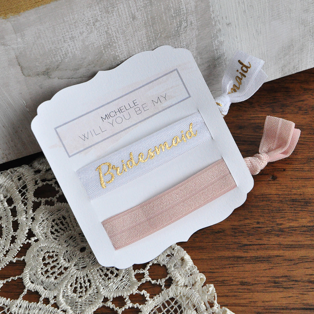 Bridesmaid Proposal Hair Tie. Personalized in 1-3 Business Days. Bridesmaid Gift. HT11E.