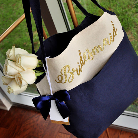 Bridesmaid Tote Bag (QTY. 1).  Canvas Bridesmaid Bag. Navy Bridesmaid Bag. N16CT