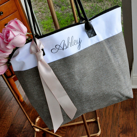 Bridesmaid Tote. Personalized Bridesmaid Gift Bags. Custom Name Bag. Zipper Tote. GRTBlH.