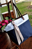 Bridesmaid Tote in Navy. Personalized Bridesmaid Gift Bags. Custom Name Bag. Zipper Tote. NRT.