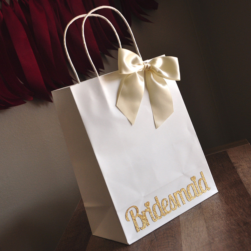 Bridesmaid Gift Bags. Large White Paper Bags with Handle. Bridesmaid ...