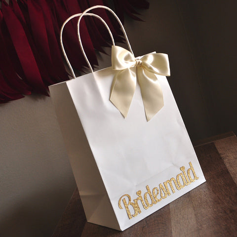 Bridesmaid Gift Bags. Large White Paper Bags with Handle. Bridesmaid Gift Ideas.