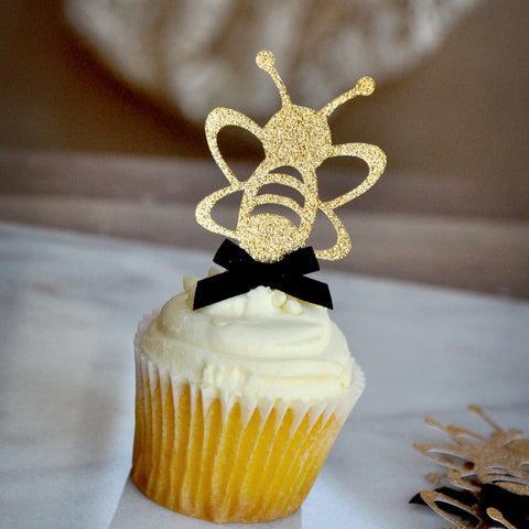Bumble Bee Cupcake Topper 12CT.  Ships in 1-3 Business Days.  Mommy to Bee.  What Will it Bee.  Sweet As Can Bee.