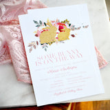 Some Bunny is on the Way Invitations and Envelopes. Spring Baby Shower Invites.