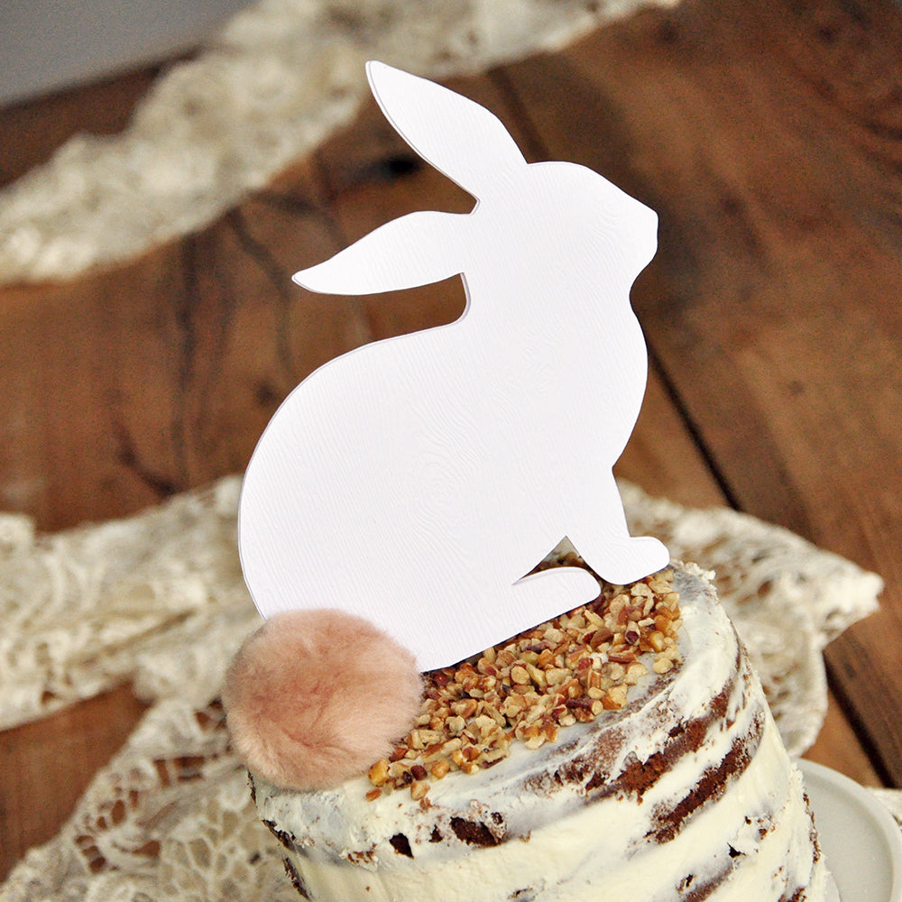 Beige and White Bunny Cake Topper. White Woodgrain Bunny Topper with Beige Pom Pom. Peter Rabbit Cake Topper.