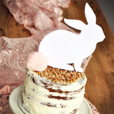 Pink and White Bunny Cake Topper. White Bunny Topper with Baby Pink Pom Pom. Some Bunny is One Cake Topper.