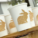 Glitter Champagne Bunny Cups 10CT. Paper Party Cups. Easter Paper Cups.