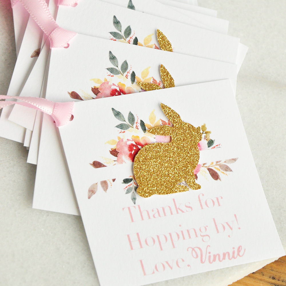 Bunny Thank You Tags for Party Favors. Thanks for Hopping By Tag. Personalized Thank You Tags. 10CT.