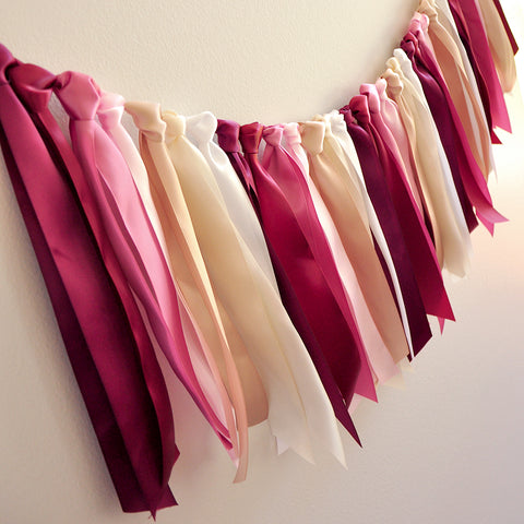 Burgundy Wedding Garland. Made in 1-3 Business Days. Burgundy, Scarlet, Rose, Baby Pink, Champagne, Ivory and White Ombre Ribbon Garland 3ft