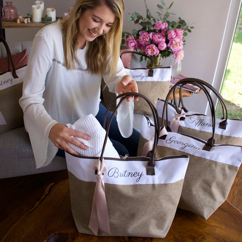 Pre-Order Only. Available Mid-March. Bridesmaid Tote. Personalized Bridesmaid Gift Bags. Custom Name Bag. Zipper Tote. CmlRT.