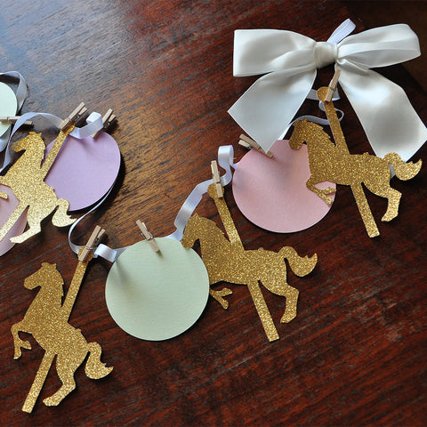 Carousel Horse Party Decorations. Ships in 1-3 Business Days. Merry-Go-Round Garland. Carousel Decorations.