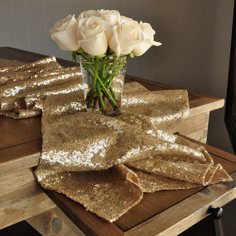 Champage Gold Table Runner. Ships in 1-3 Business Days. Sequin Table Runner. Wedding Table Runner.