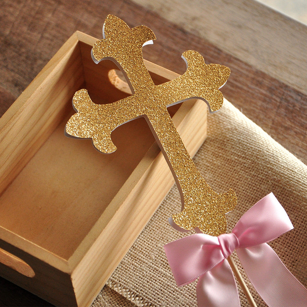 Christening Decorations. Ships in 1-3 Business Days. Baptism Cross Cake Topper.