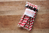 Circus Birthday Party Straws 10CT. Ships in 1-3 Business Days. Red Paper Straws with Black Bows.