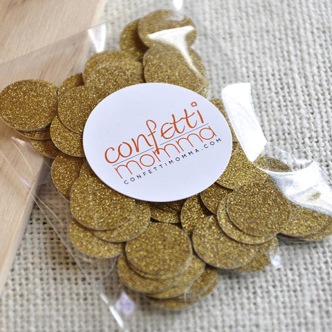 Fine Glitter Gold Confetti Circles 100CT.  Ships in 1-3 Business Days.  Gold Coins.