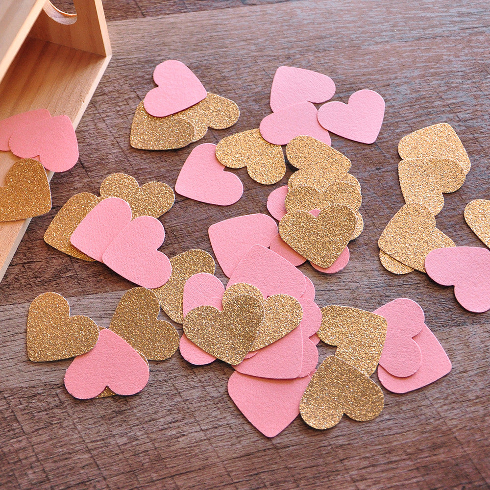 Bridal Brunch Party Decor. Ships in 1-3 Business Days. Bridal Shower Decorations. Coral and Gold Heart Confetti 50CT.