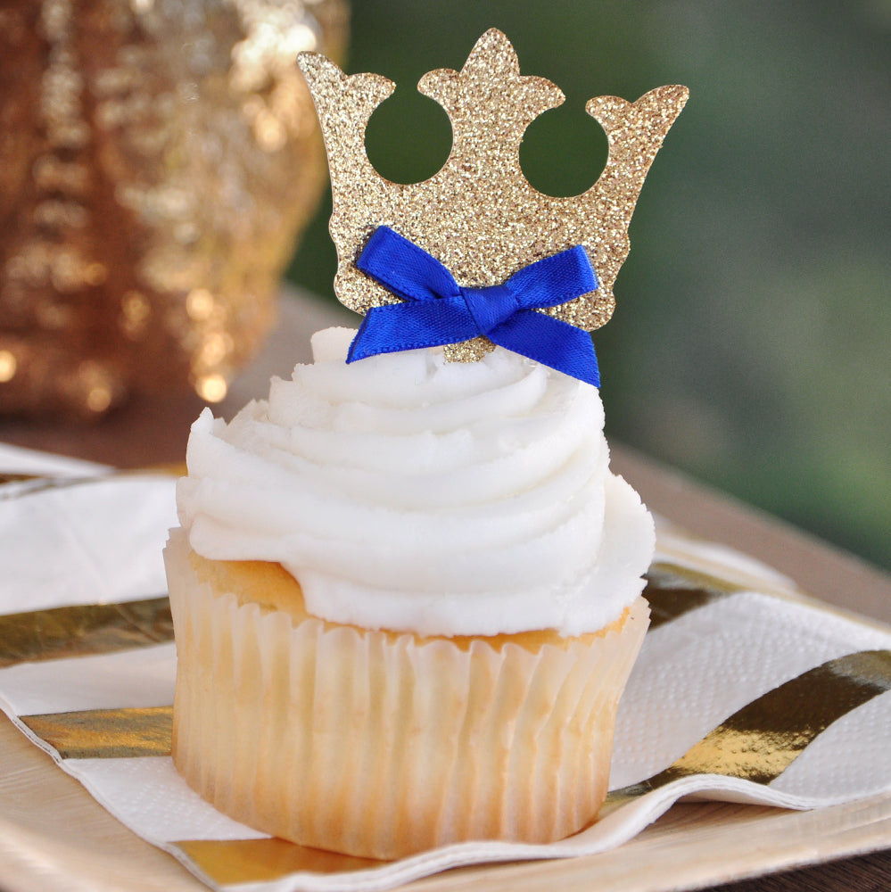 Crown Cupcake Toppers. Ships In 1 3 Business Days. Royal Prince Baby Shower