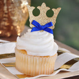 Crown Cupcake Toppers.  Ships in 1-3 Business Days.  Royal Prince Baby Shower Decorations.  12CT.