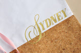 Custom Tote Bag with Personalize Name and Cork Detailing. Bridesmaid Gift. W14CT.
