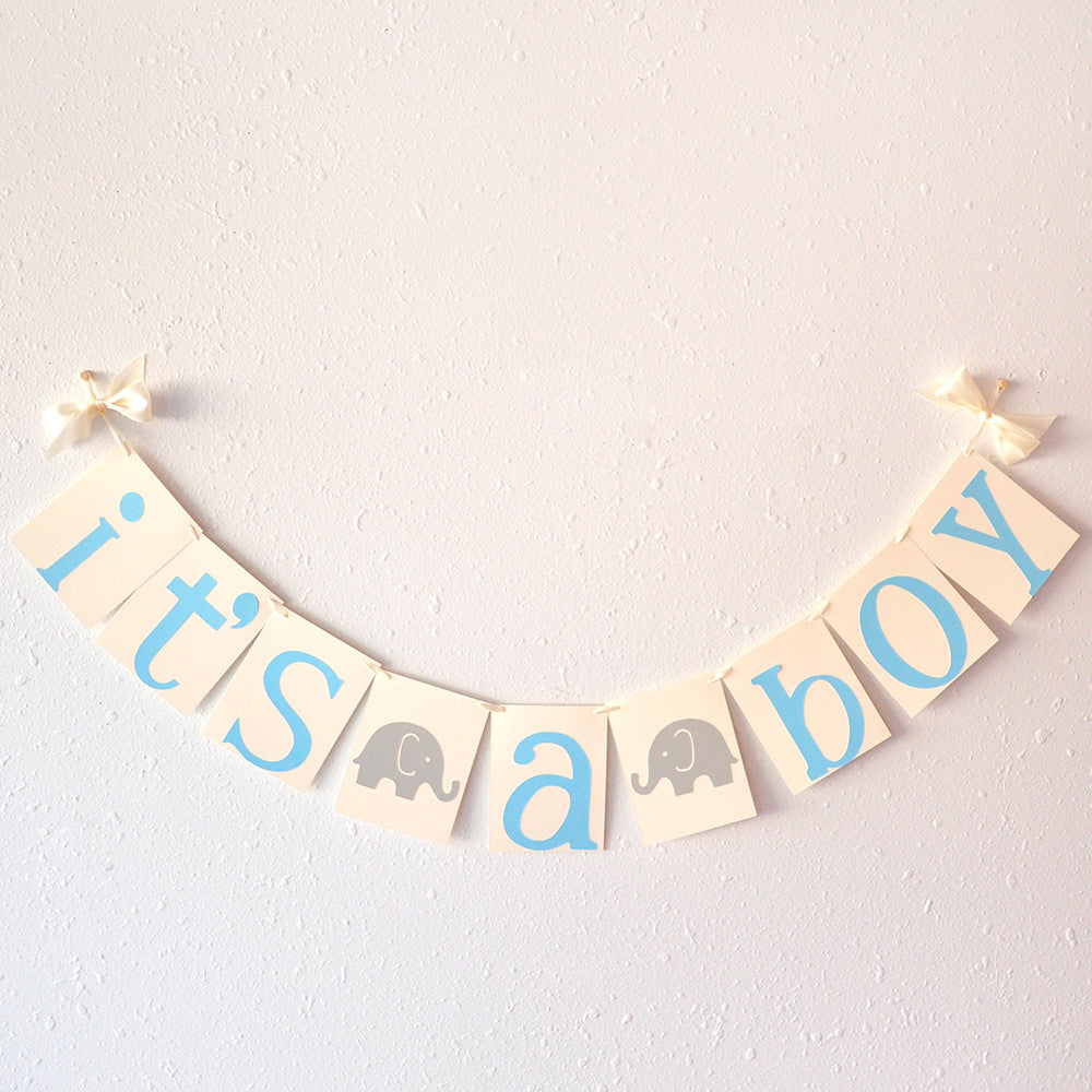 Elephant Baby Shower Banner.  Ships in 1-3 Business Days. Its A Boy Banner.