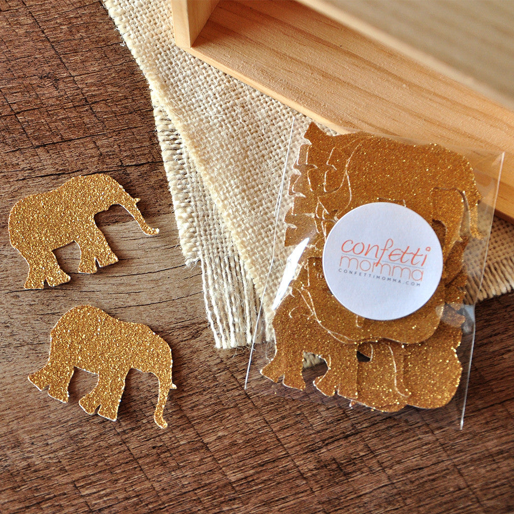 Elephant Confetti 25CT. Ships in 1-3 Business Days. Jungle Baby Shower Decorations.