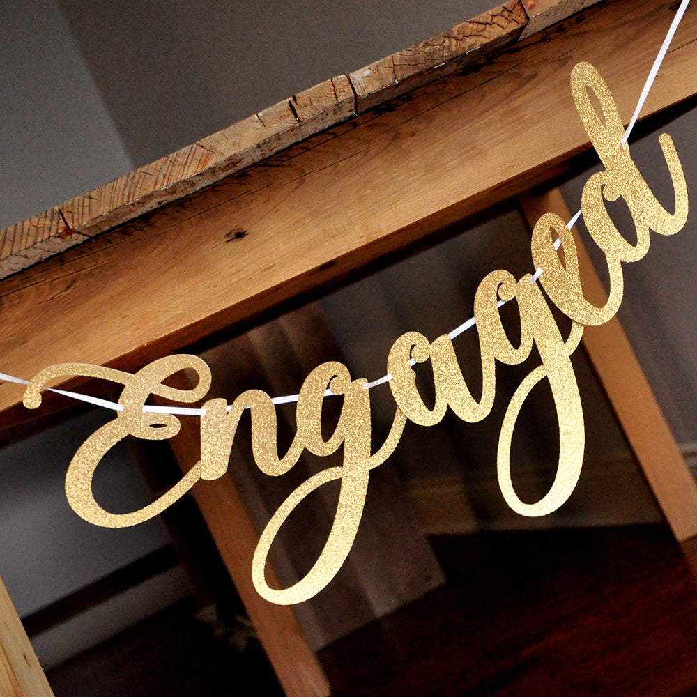 Engagement Party Paper Sign Photoprops Decoration Were Engaged Banner