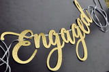 Gold Engaged Banner. Made in 1-3 Business Days. Engagement Party Decorations. Engagement Party Banner.