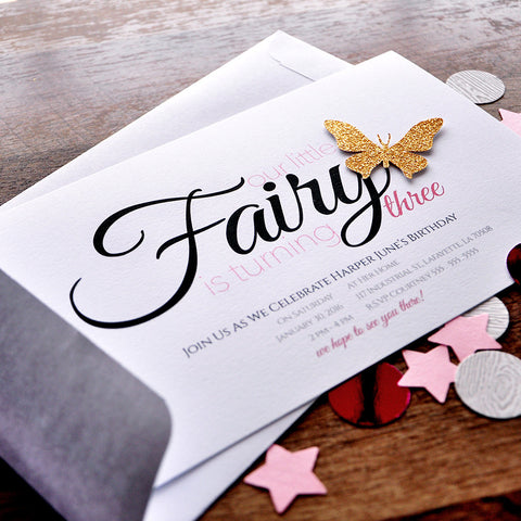 Fairy Party Invitations and Envelopes. We Print, Cut, Glue and Ship to You in 1-3 Business Days.