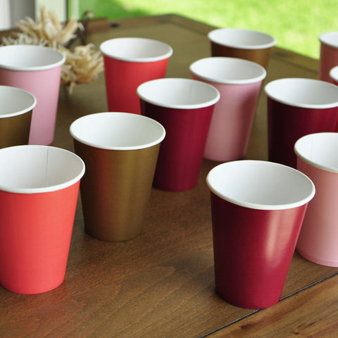 Fall Cups. Harvest Party. Ships in 1-3 Business Days. Fall Birthday. Set of 12 or More Cups in Baby Pink, Vibrant Coral, Burgundy, and Gold.