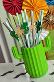 Fiesta Baby Shower Straws. (1 set of 10 straws) Cactus Baby Shower. Fiesta Party Decoration.