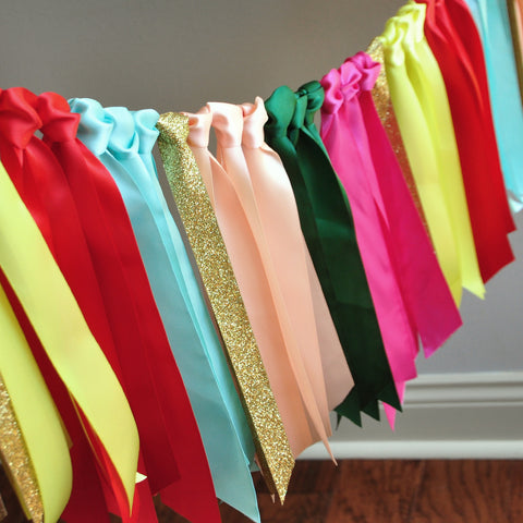 Fiesta Backdrop Ribbon Garland. Fiesta Party Decorations. Fiesta Banner. Mexican Party Decorations.