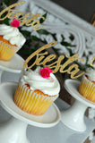 Fiesta Party Cupcake Toppers with Flowers. (1 Set of 12 Toppers) Bachelorette Party Decoration. Final Fiesta Bridal Shower.