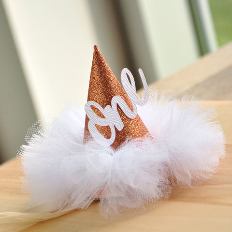 First Birthday Hat. Handcrafted in 1-3 Business Days. Rose Gold Birthday Hat. Smash Cake Hat. Winter Onederland Mini Party Hat.