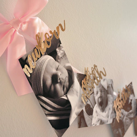 First Birthday Photo Banner. Pink and Gold First Birthday. Swan First Birthday.