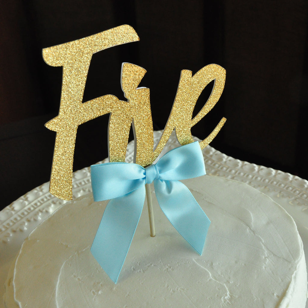 Five Cake Topper For Birthday. Handcrafted in 1-3 Business Days. Fifth Birthday Party Ideas.