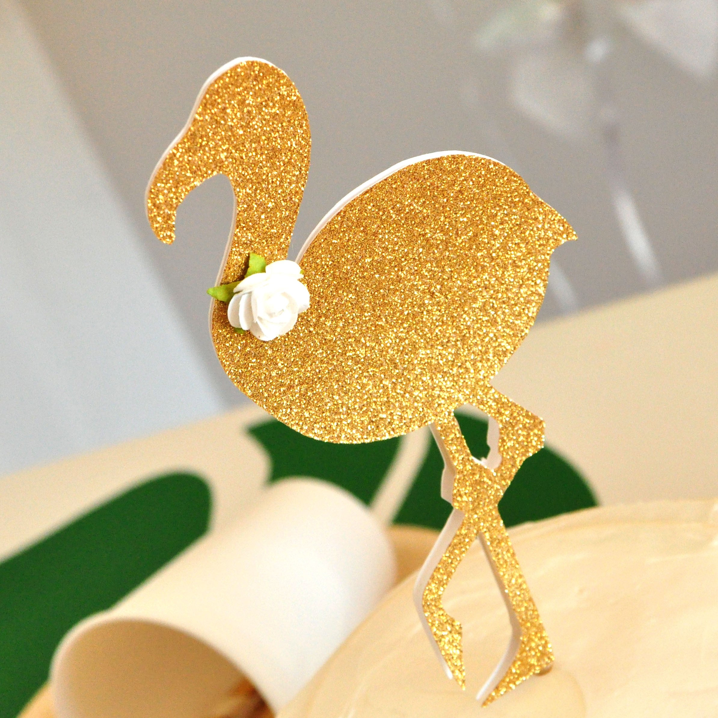 Glitter Gold Tropical Summer Party Topper Flamingo Cake Topper