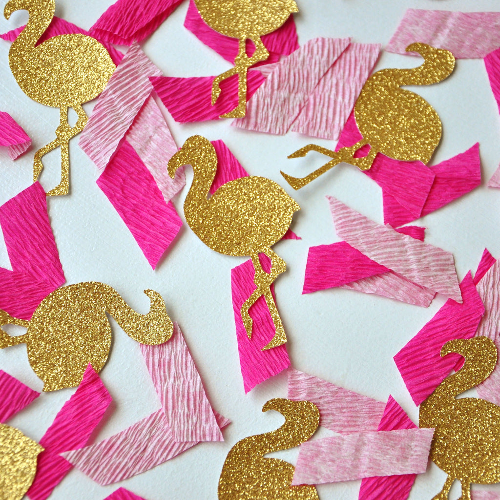 Flamingo Party Crepe Paper Confetti. Handcrafted in 1-3 Business Days. Flamingle Tropical Confetti.